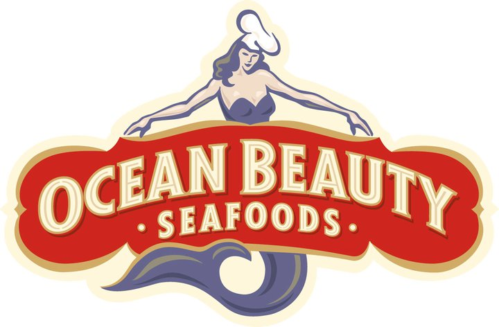 the Ocean Beauty Seafoods logo featuring a drawing of a mermaid wearing a chef's hat