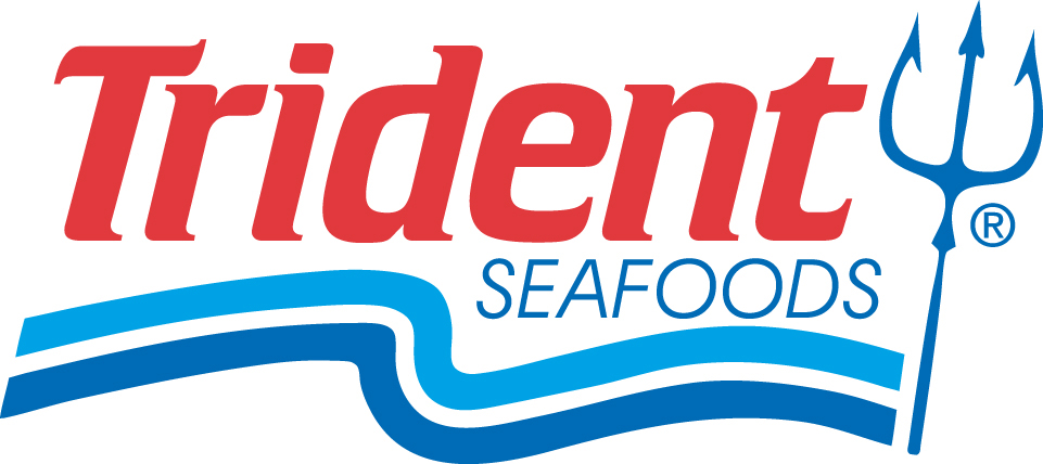 Trident Seafoods logo featuring a drawing of a trident